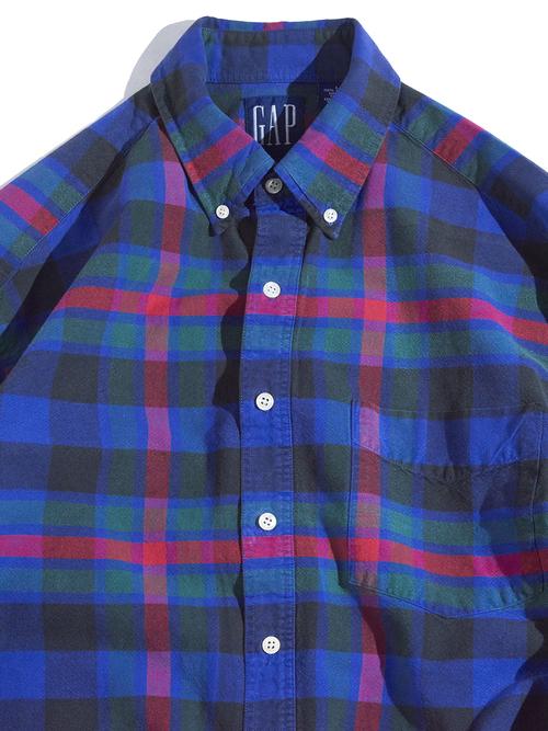 """1990s """"GAP"""" cotton B.D. check shirt -NAVY-"""